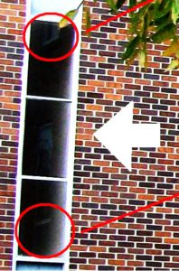 The altered photo, enhancing CONTRAST ONLY, to make out the image clearly: what, other than the adjacent window frames, appears in this reflection?