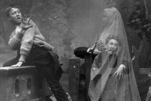 Title: The Haunted Lane Date Created/Published: c1889. Medium: 1 photographic print on stereo card : stereograph. Summary: Stereograph shows a ghost scaring man and boy; posed studio scene. Reproduction Number: LC-USZ62-49314 (b&w film copy neg. of half stereo) Rights Advisory: No known restrictions on publication. Call Number: LOT 3520-7, no. 8 [P&P] Repository: Library of Congress Prints and Photographs Division Washington, D.C. 20540 USA Notes: Stereo copyrighted by Melander. No. 45. Caption card tracings: Supernatural; Shelf.